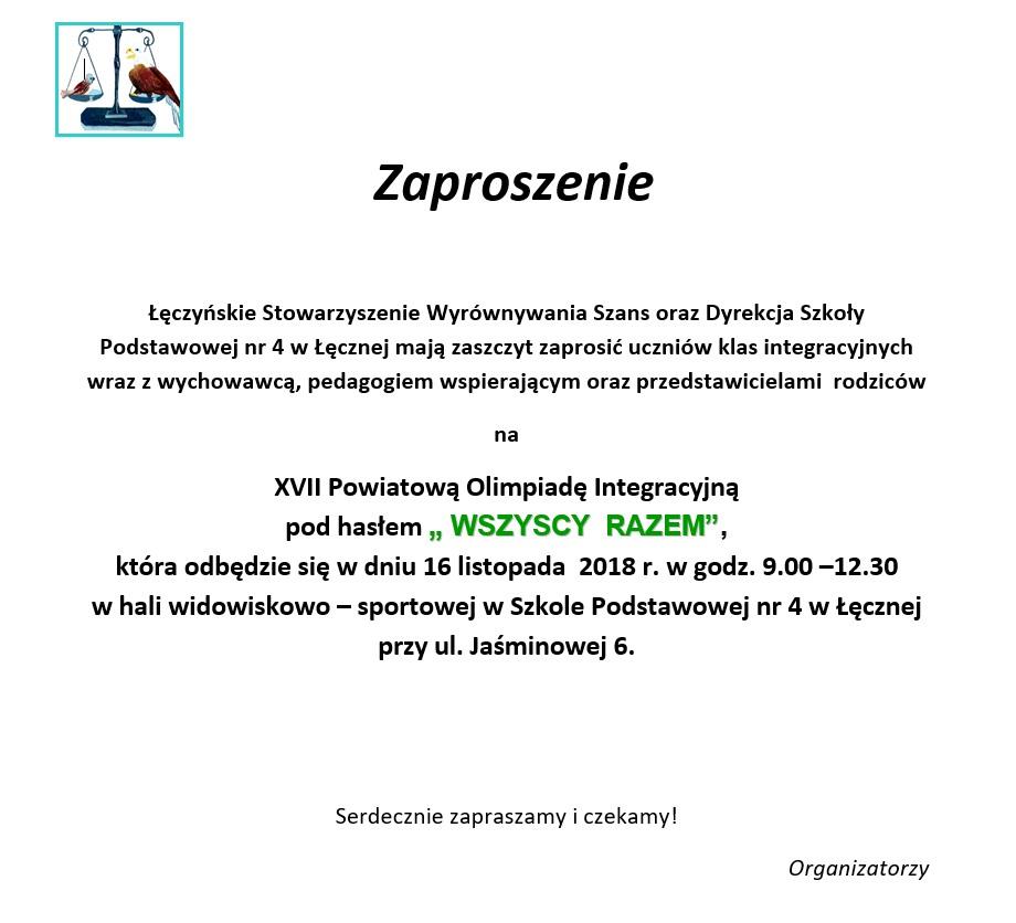 Szkoła Podstawowa Nr 4 W łęcznej Zaproszenie Na Xvii Powiatową